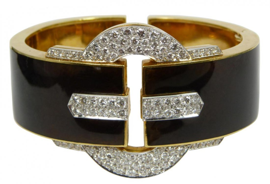 DAVID WEBB 18K & PLATINUM 4.00CTW DIA BANGLE