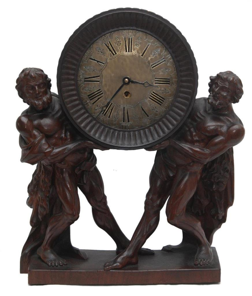 RARE CONTINENTAL CARVED FIGURAL CLOCK