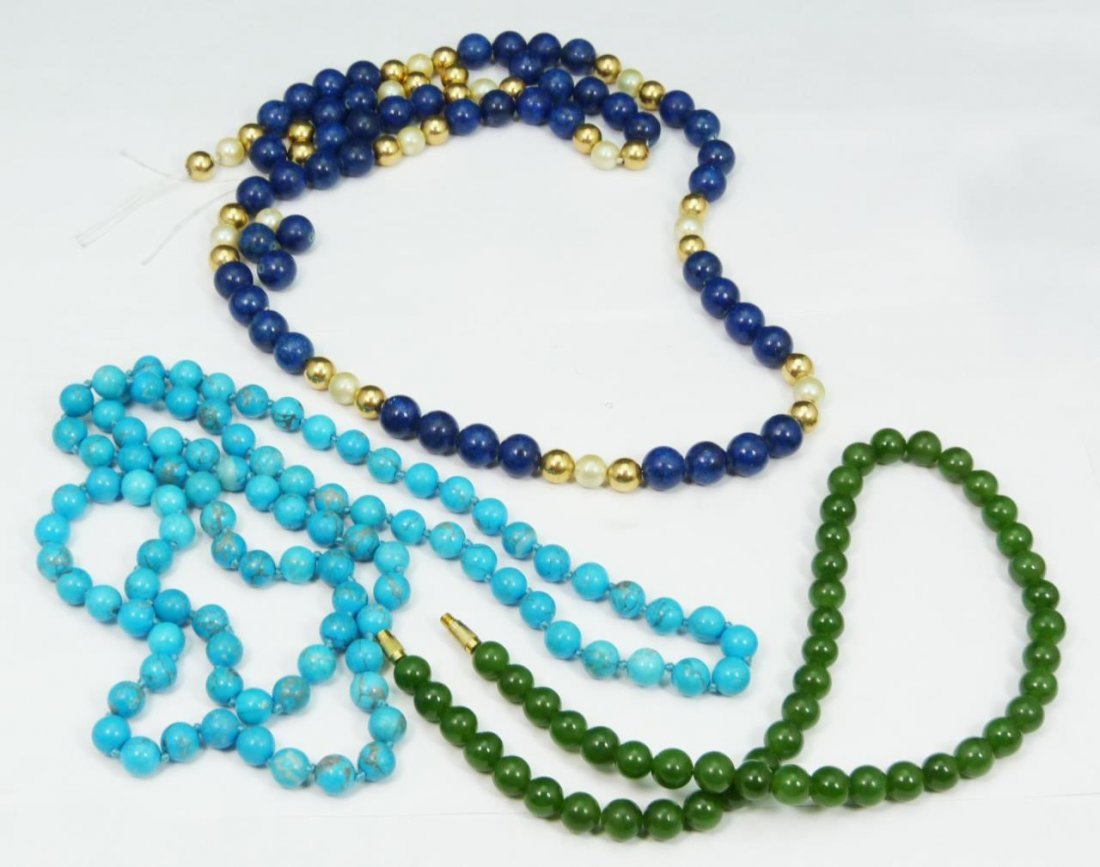 3 CHINESE BEADED NECKLACES JADE SODALITE TURQUOISE