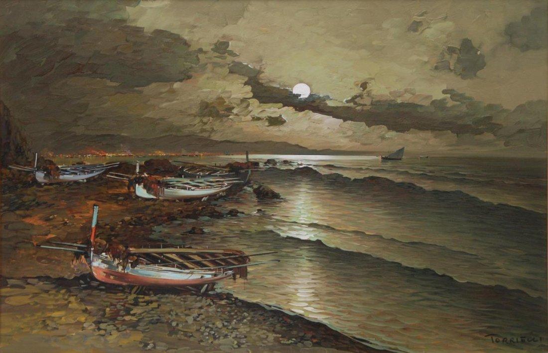 ANTONIO TORRIELLI BOAT SCENE OIL ON CANVAS