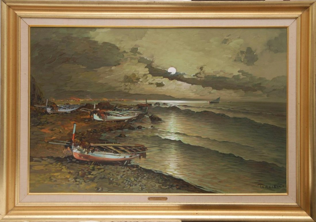 ANTONIO TORRIELLI BOAT SCENE OIL ON CANVAS - 2