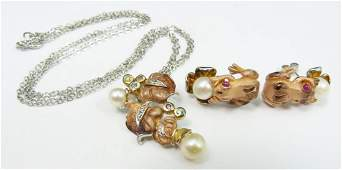 4pc STERLING  GEMSTONE FROG JEWELRY SUITE