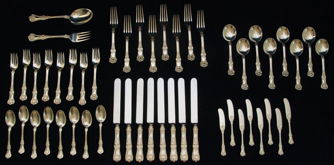 50pc TIFFANY ENGLISH KING STERLING FLATWARE SET