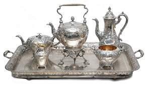 6pc 19th C JAMES & WILLIAM MARSHALL SILVER TEA SET
