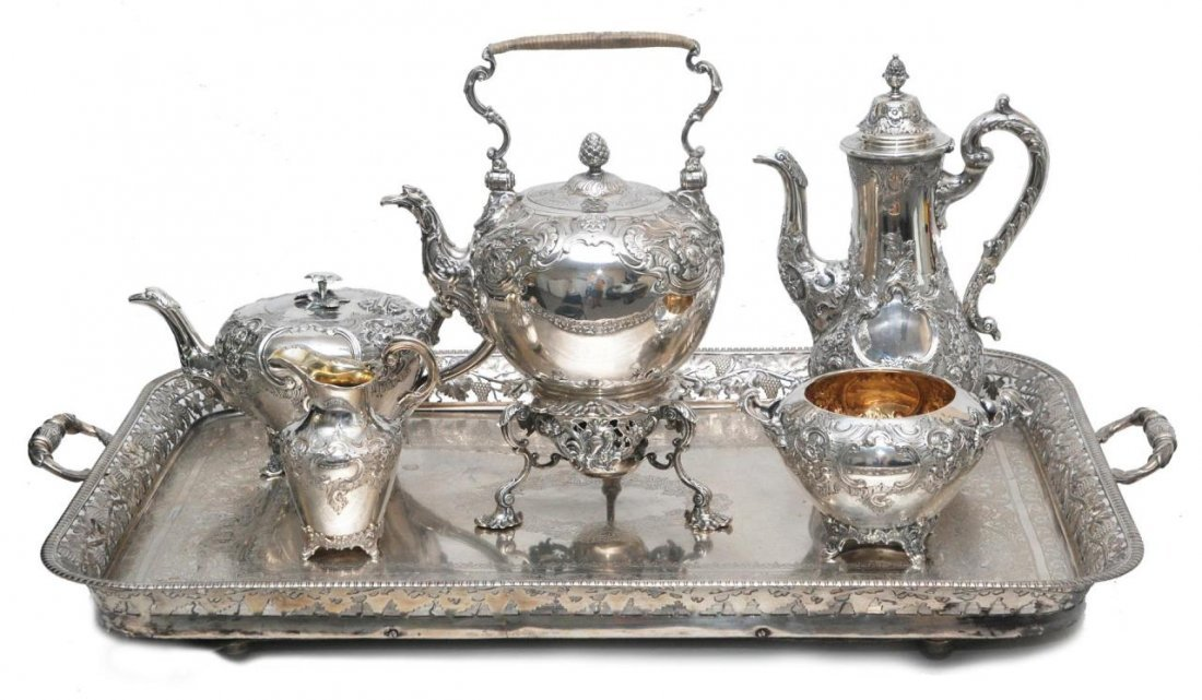 6pc 19th C JAMES & WILLIAM MARSHALL SILVER TEA SET