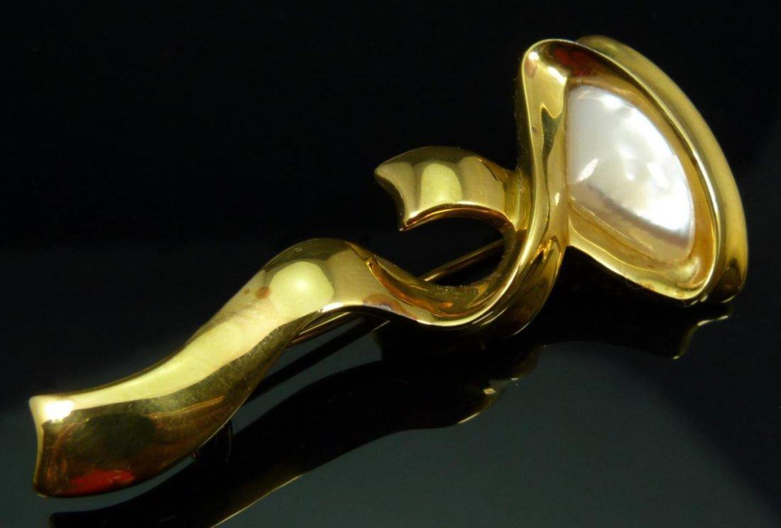 VINTAGE KAI-YIN LO DESIGNER VERMEIL BROOCH PIN
