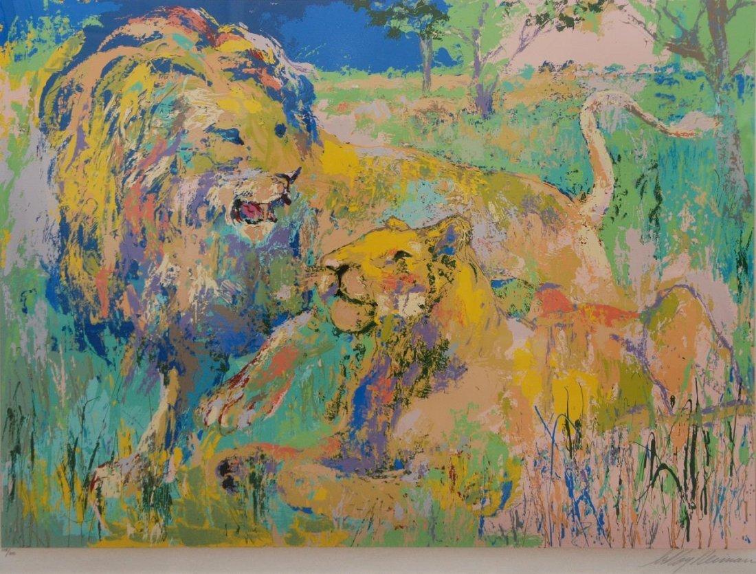 LEROY NEIMAN 'LION COUPLE' LITHO PENCIL SIGNED