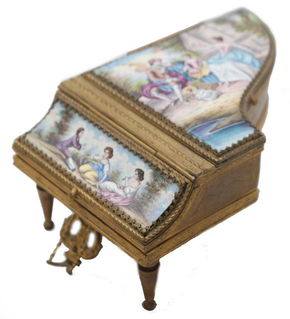 ANTIQUE FRENCH MINIATURE PIANO ETUI MUSIC BOX