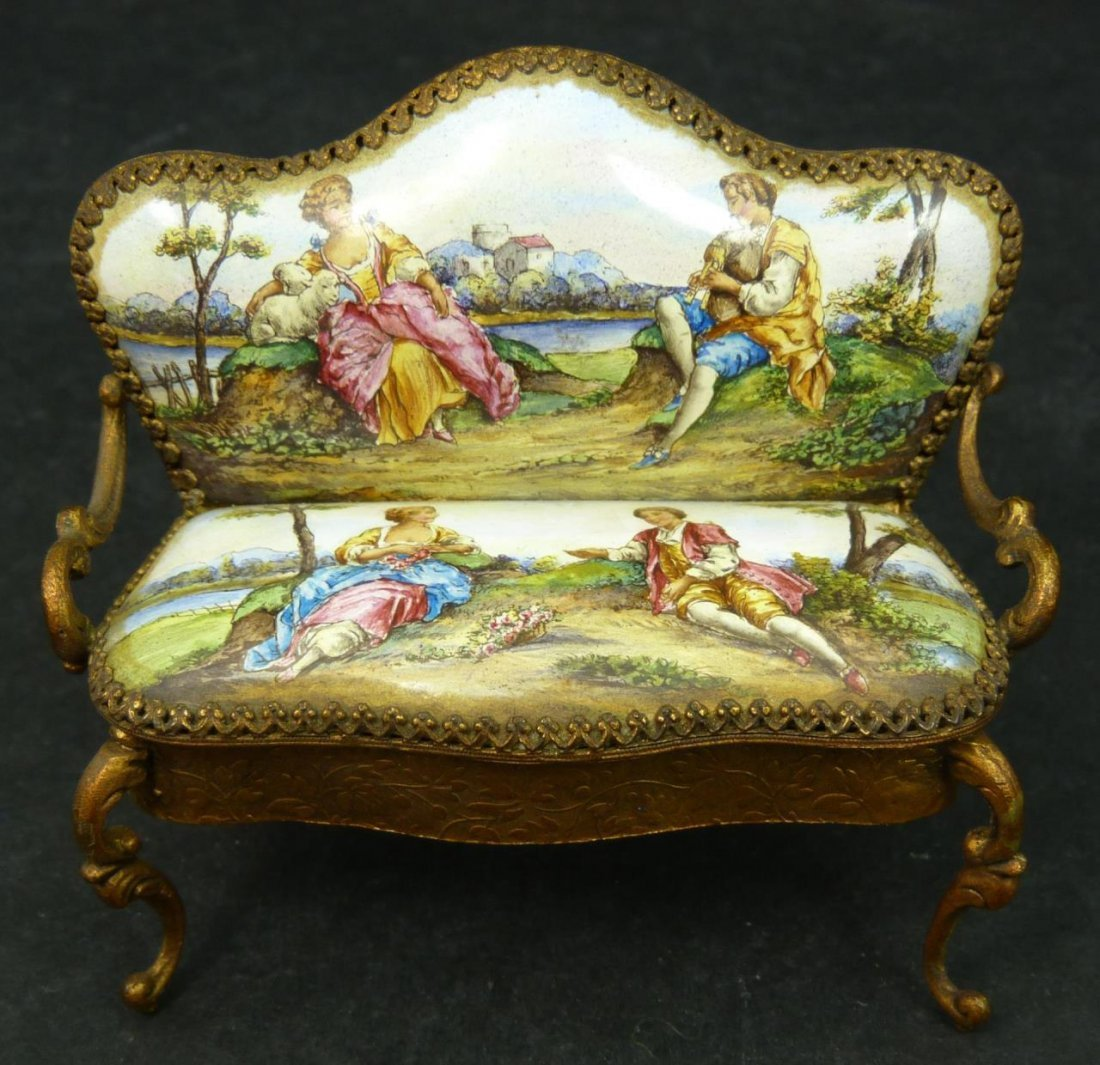 ANTIQUE FRENCH ENAMELED METAL MINIATURE SETTEE