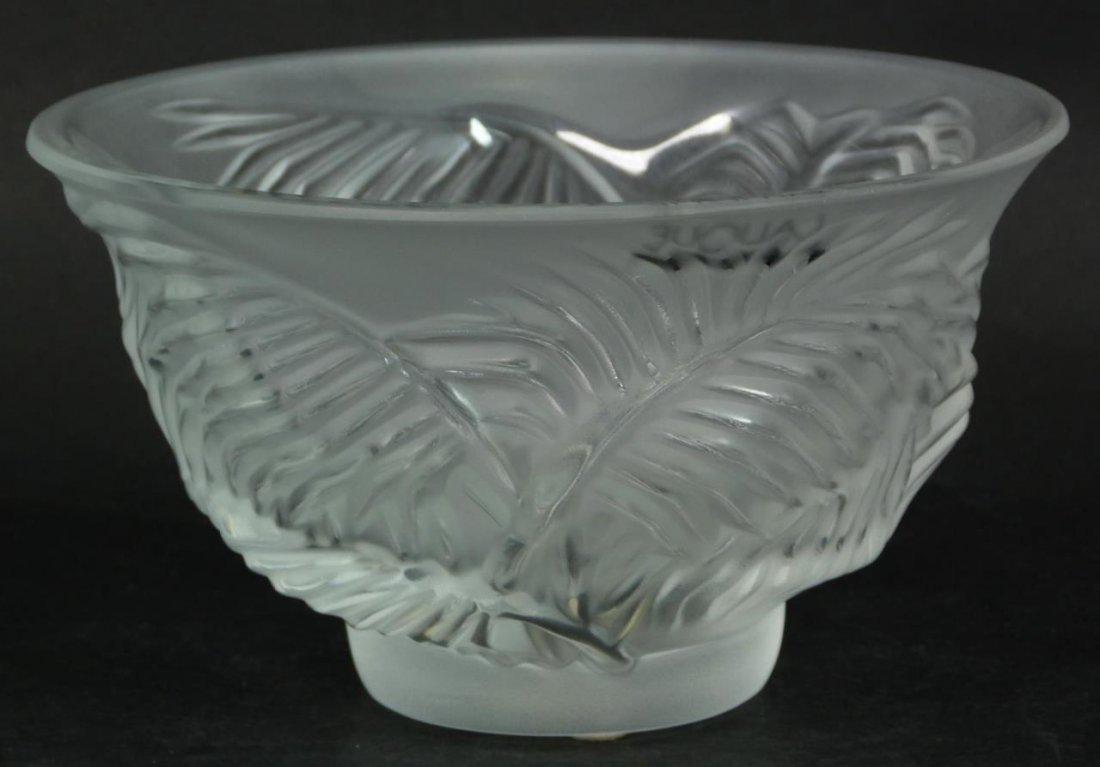 LALIQUE FRENCH CRYSTAL PALM TREE BOWL