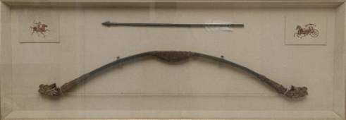 ARCHAIC CHINESE WOODEN BOW  ARROW IN SHADOW BOX