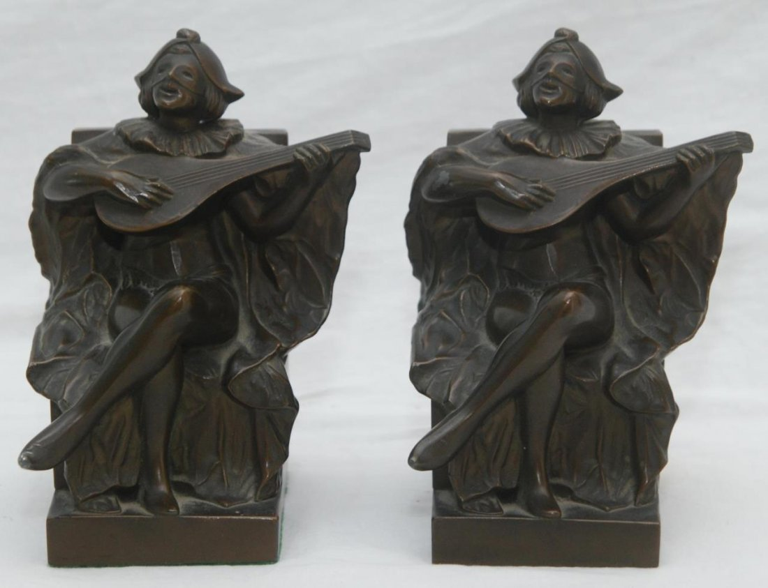 PAIR JESTER BRONZE FIGURAL BOOKENDS