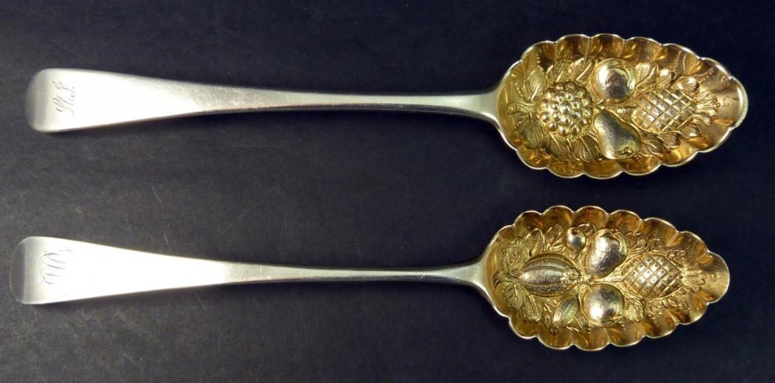 2 ANTIQUE ENGLISH LONDON STERLING BERRY SPOONS