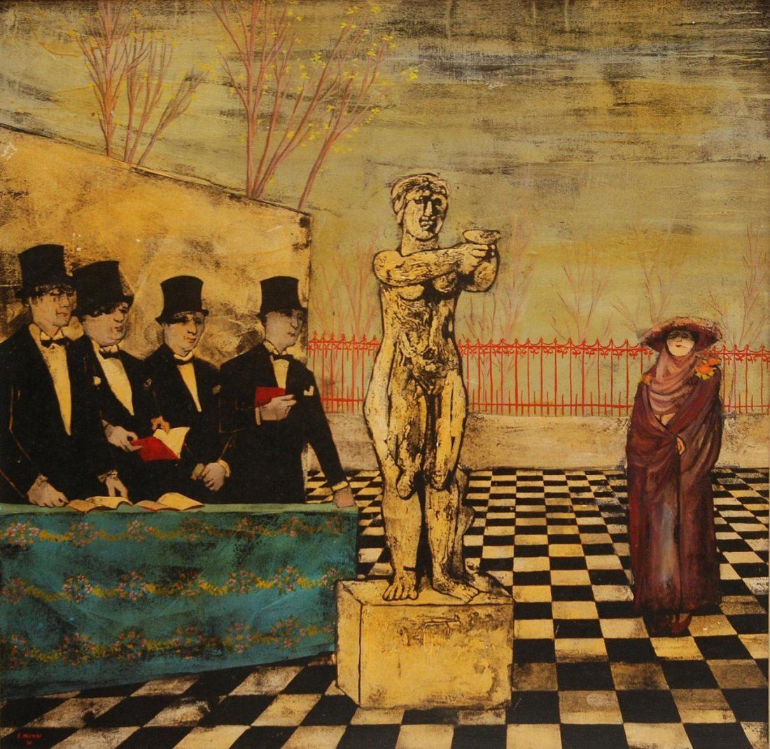 FRANCO MINEI OIL ON BOARD OF CEREMONIAL SCENE