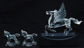 3pcs SWAROVSKI CRYSTAL PEGASUS  ROCKING HORSES