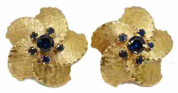 Pr. 14K YELLOW GOLD FLORAL SAPPHIRE EARRINGS