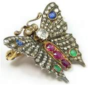 14K YG DIAMOND RUBY EMERALD SAPPHIRE BUTTERFLY PIN