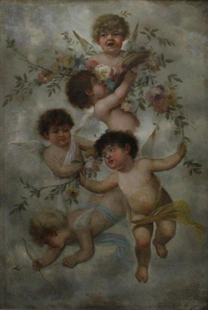 JOHN CALIFANO OIL PAINTING ON CANVAS OF PUTTI