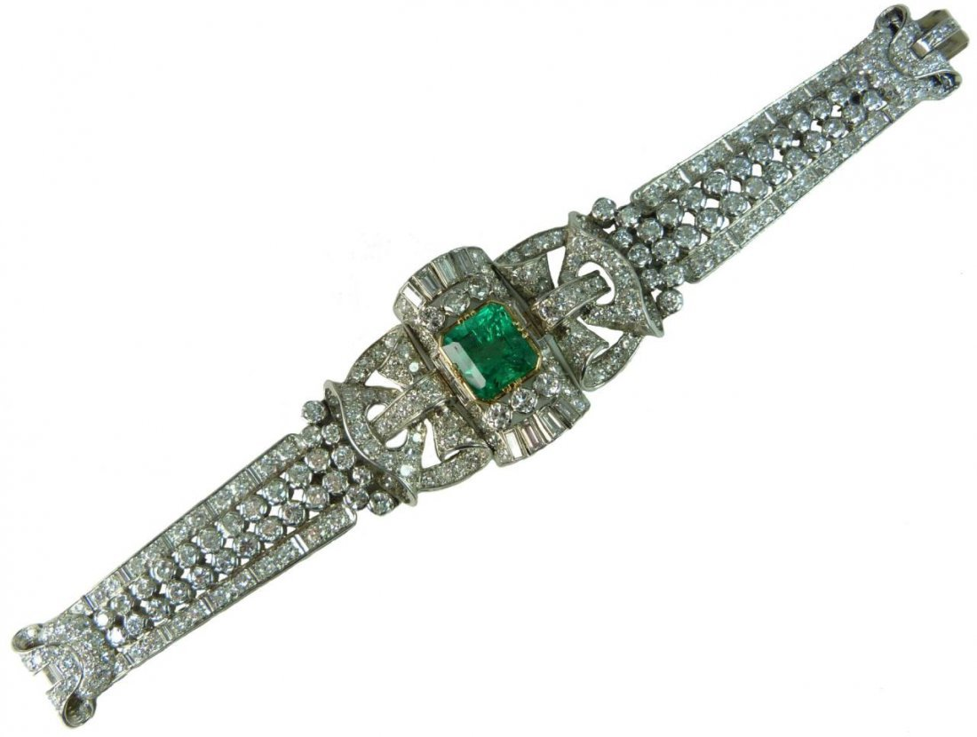 1940'S 18K WG COLOMBIAN EMERALD DIAMOND BRACELET