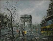 FRENCH ARC DE TRIOMPHE STREET SCENE OIL
