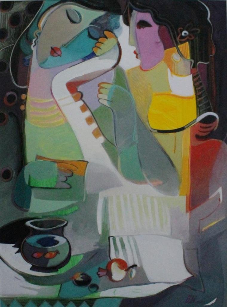 LAYLA ALI CUBIST GOUACHE PAINTING ON BOARD