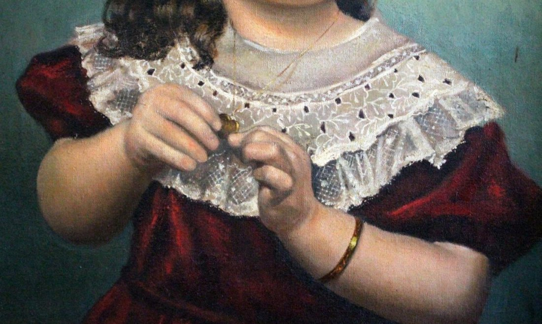 BEN CLEMENTS OIL PAINTING OF GIRL WITH LOCKET - 5