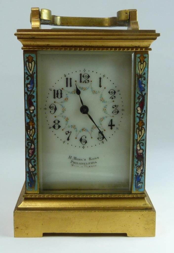 H. MUHRS & SONS FRENCH CHAMPLEVE CARRIAGE CLOCK