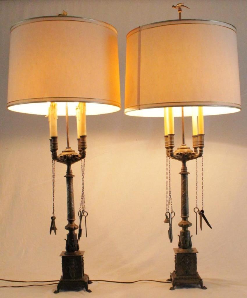 Pr SHEFFIELD ENGLISH BRONZE ORNATE LAMPS
