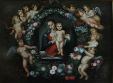 LARGE ITALIAN SCHOOL RELIGIOUS OIL ON CANVAS TOSE