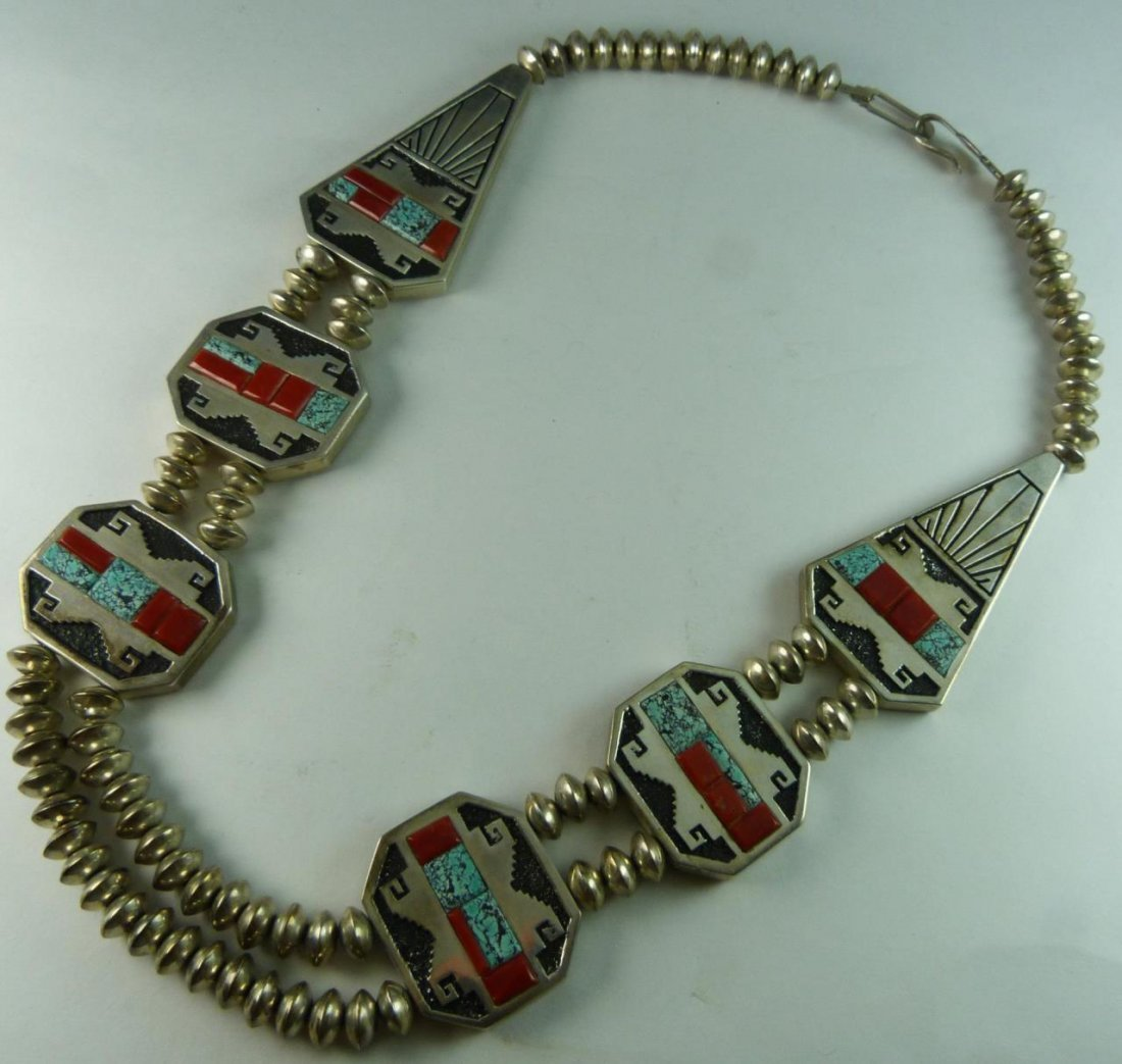 ALVIN YELLOWHORSE NAVAJO STERLING JEWELED NECKLACE