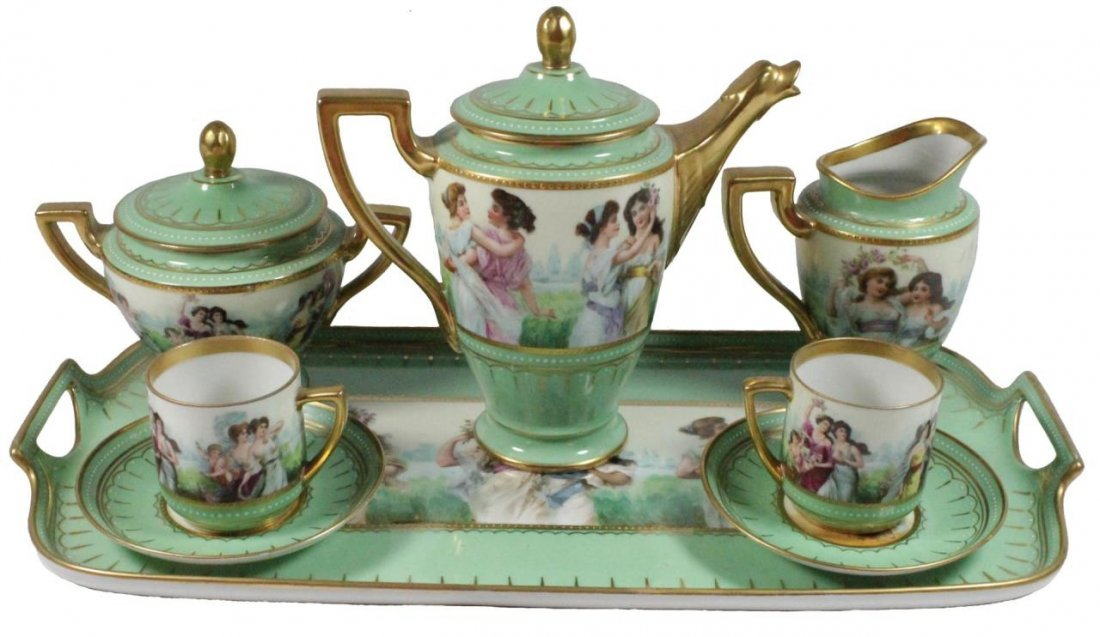8pc ROYAL VIENNA AUSTRIAN PORCELAIN DEMITASSE SET