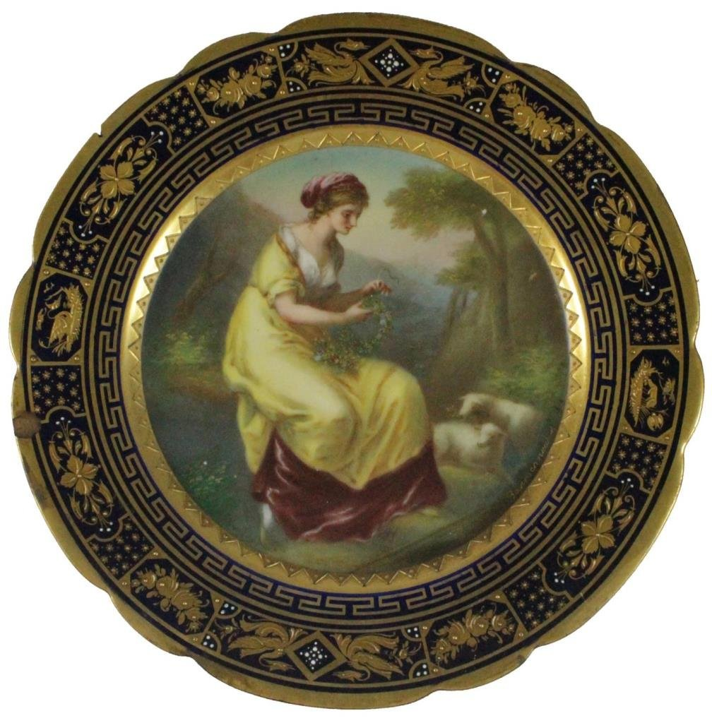 ROYAL VIENNA HAND PAINTED PORTRAIT PLATE SIGNED