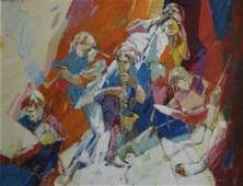 IRVING ROSENZWEIG OIL ON CANVAS OF MUSICIANS