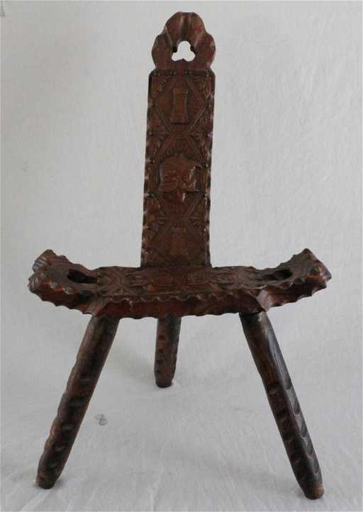 - ITALIAN WOOD & LEATHER ORNATE BIRTHING CHAIR