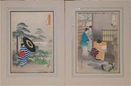PAIR WOODBLOCK PRINTS GEKKO OGATA 18591920