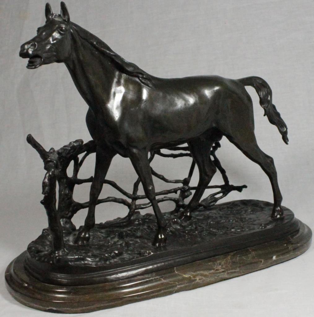 AFTER P.J. MENE BRONZE SCULPTURE OF HORSE BY FENCE
