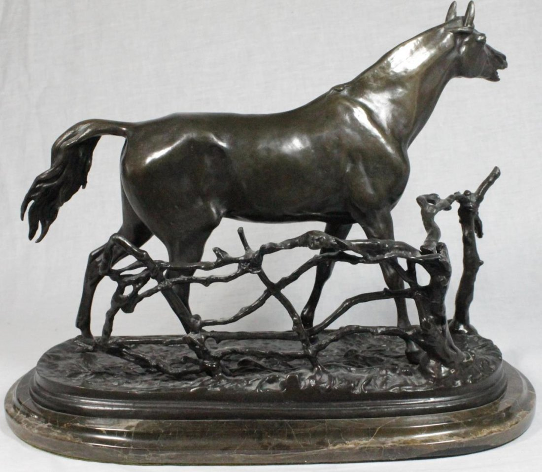 AFTER P.J. MENE BRONZE SCULPTURE OF HORSE BY FENCE - 5