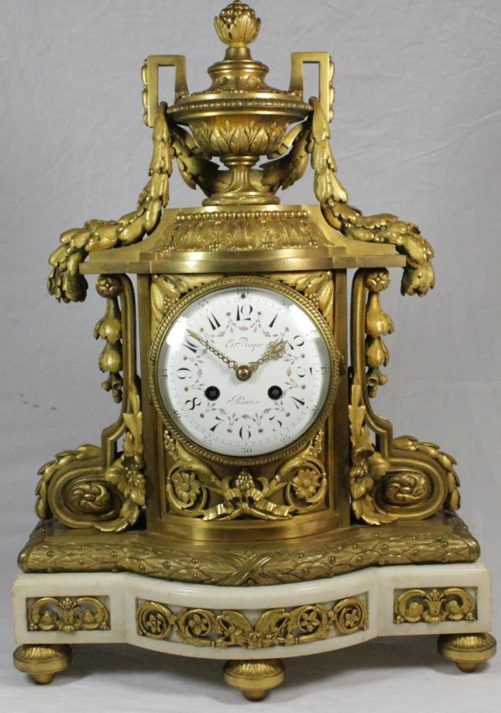 19TH.C ERNEST ROYER FRENCH ORMOLU & MARBLE CLOCK