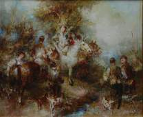 SPANISH OIL PAINTING ON CANVAS OF EQUESTRIAN SCENE