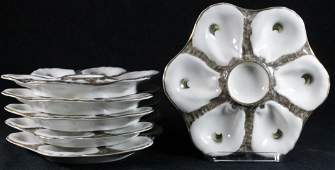 6 CONTINENTAL PORCELAIN OYSTER PLATES