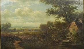 19th CENTURY LANDSCAPE OIL ON CANVAS SIGNED
