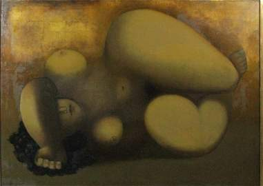 REMO FARRUGGIO OIL PAINTING ON CANVAS OF NUDE
