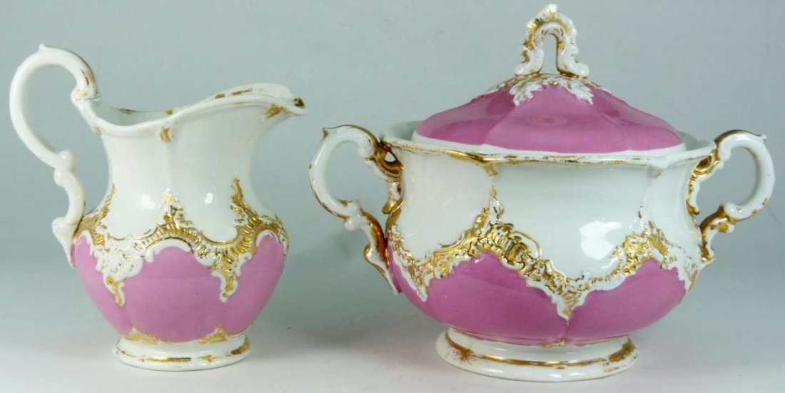 MEISSEN GERMAN PORCELAIN PINK SUGAR & CREAMER SET