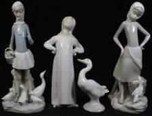 4 LLADRO PORCELAIN FIGURES OF GIRLS