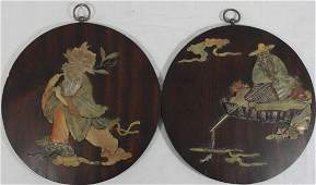 Pr CHINESE ROUND HARDSTONE INLAID WALL PLAQUES