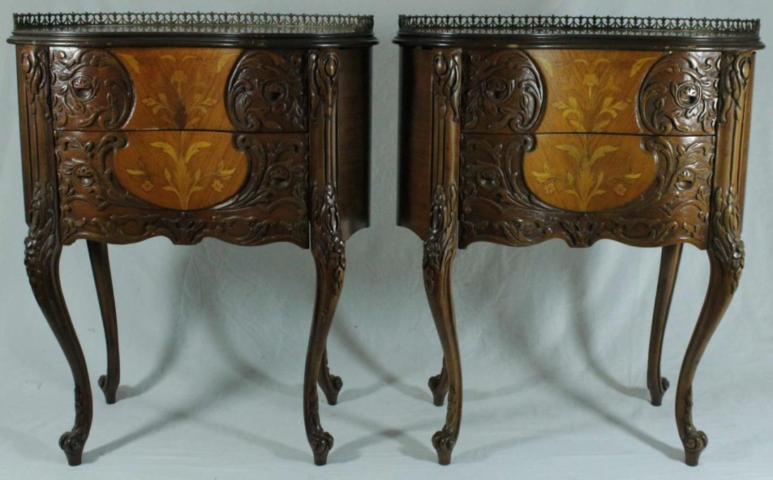 PAIR OF FRENCH STYLE MARQUETRY INLAID END TABLES