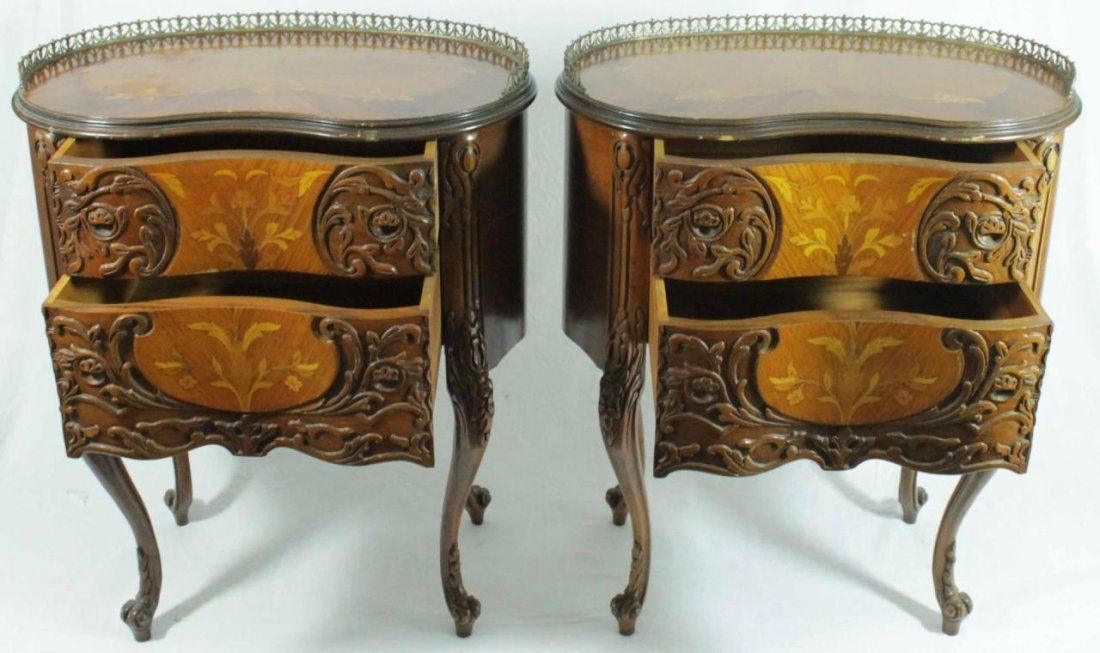 PAIR OF FRENCH STYLE MARQUETRY INLAID END TABLES - 2