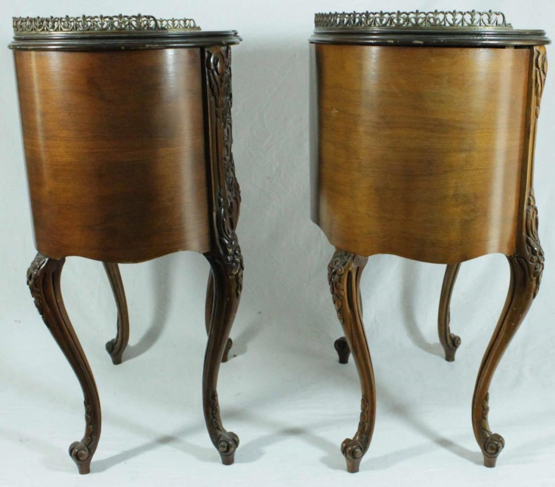 PAIR OF FRENCH STYLE MARQUETRY INLAID END TABLES - 3