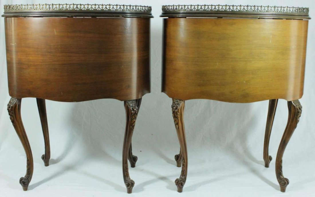 PAIR OF FRENCH STYLE MARQUETRY INLAID END TABLES - 4