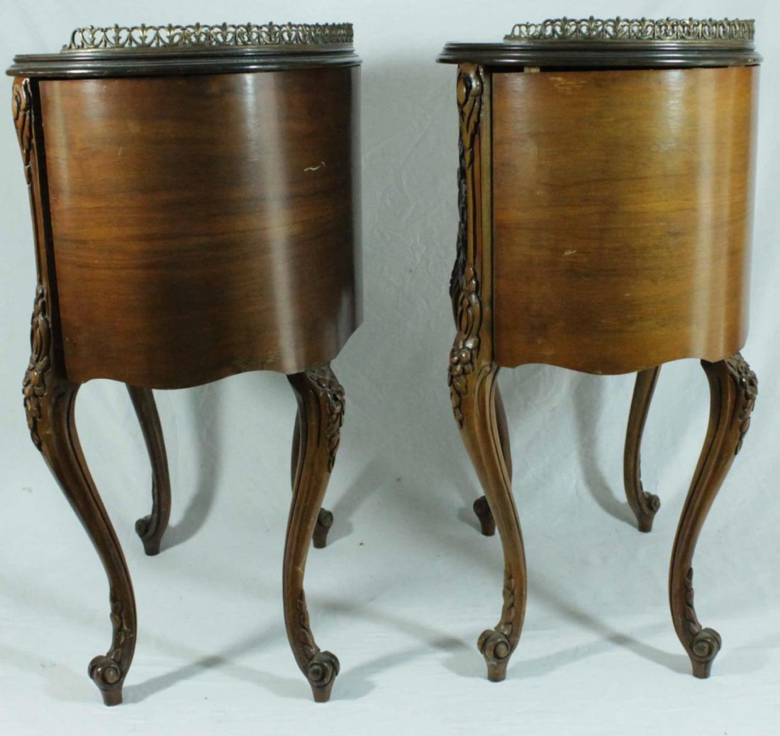 PAIR OF FRENCH STYLE MARQUETRY INLAID END TABLES - 5